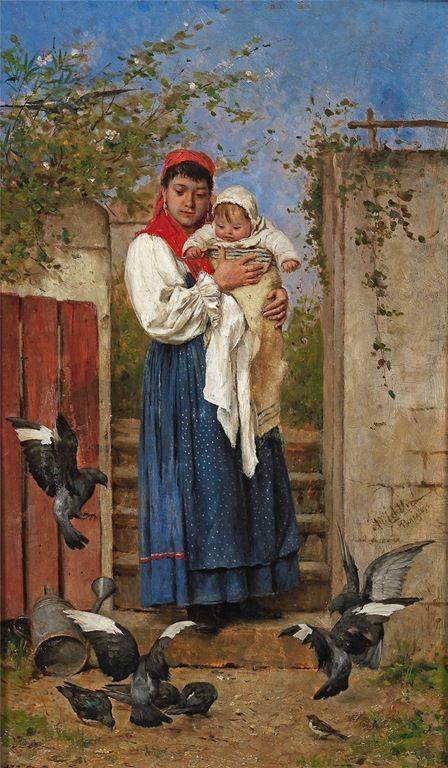 Tela de Adolf Echter -1843/1914 - Pintor Alemão.