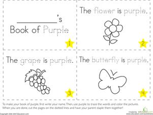 The Color Purple Color worksheets for preschool