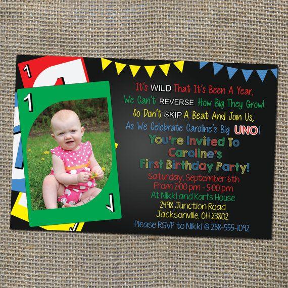 Uno Card Game Theme Birthday Invitation Old School Retro Style