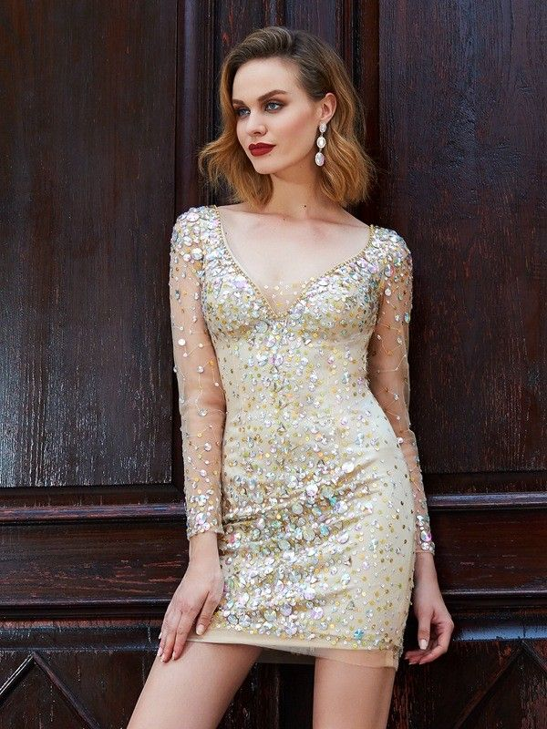 0a5b044a5fc 2019 的 Sheath Scoop Net Rhinestone Short Mini Homecoming Dresses ...