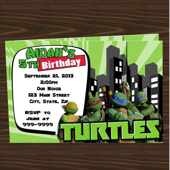 TMNT Teenage Mutant Ninja Turtle party invitations Top Party