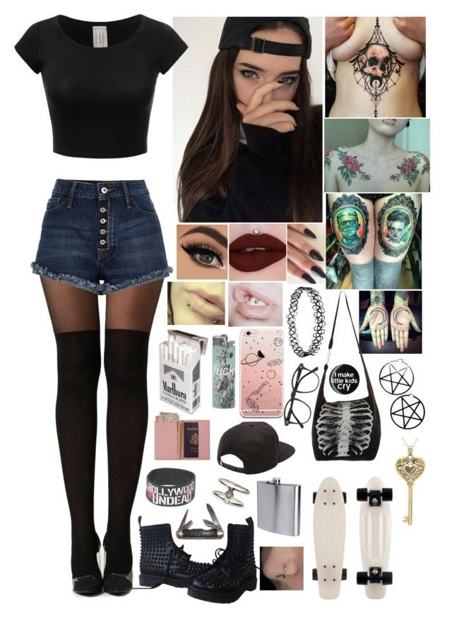 """""""Penelope"""" by partypoisonkilljoy ❤ liked on Polyvore featuring Boohoo, Dr. Martens, Market, Royce Leather, Vans, Talon, The Sharper Image, Illesteva and Kill Star"""