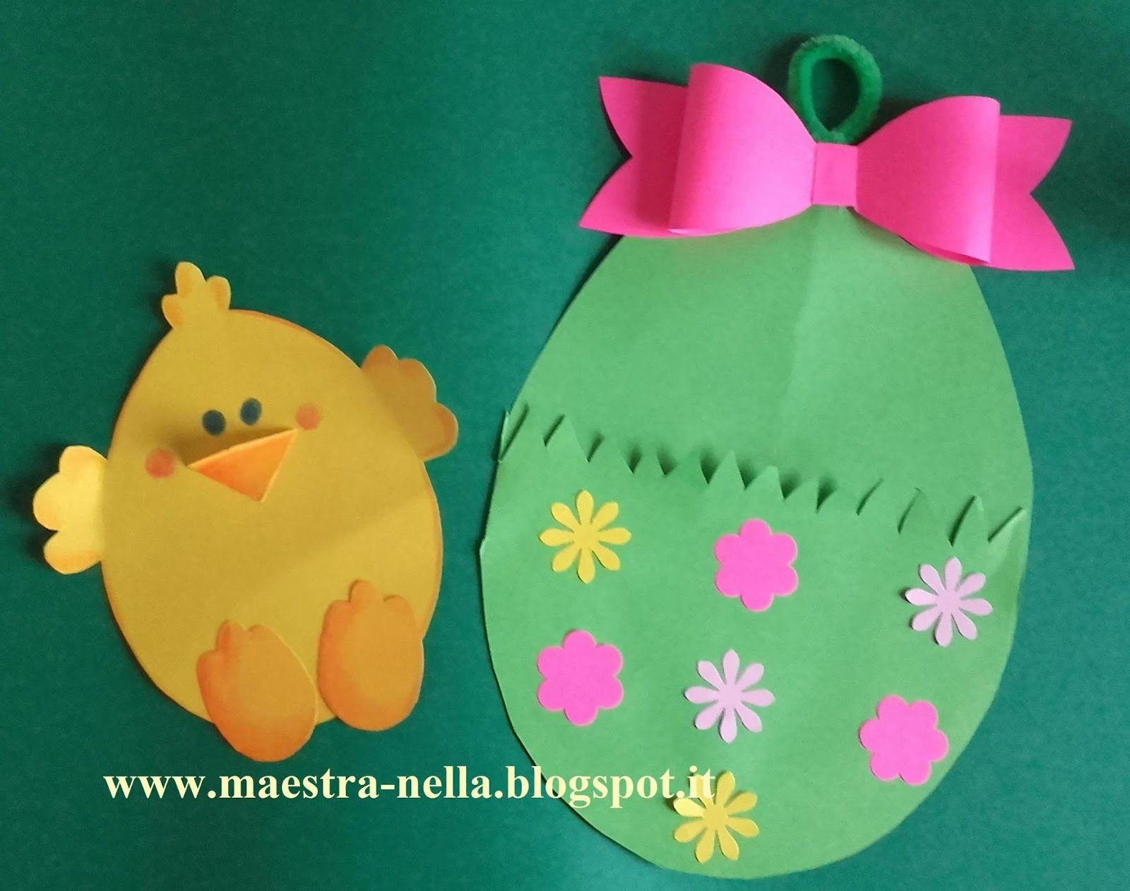 Bambini Pasqua ~ Pulcini e coniglietti spuntano da uova di pasqua decorati con