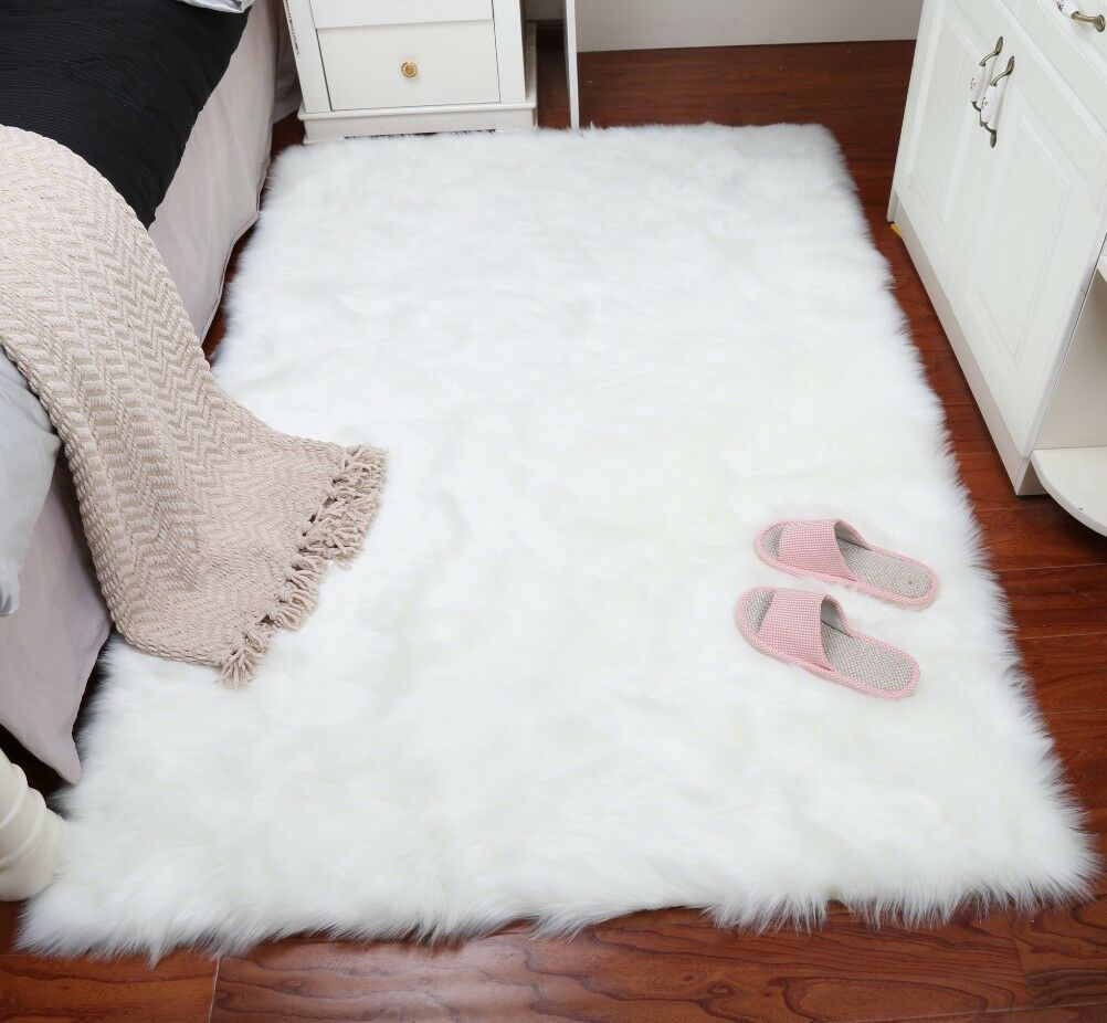 Faux Fur Area Rug Hairy Shaggy Rug White Large Faux Sheepskin Carpet Washable Faux Fur Area Rug Fur Rug Bedroom White Fur Rug