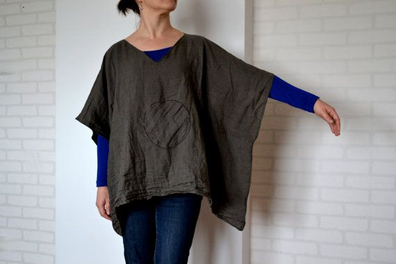 Oversize poncho dark gray linen poncho linen by LinenHouseArt