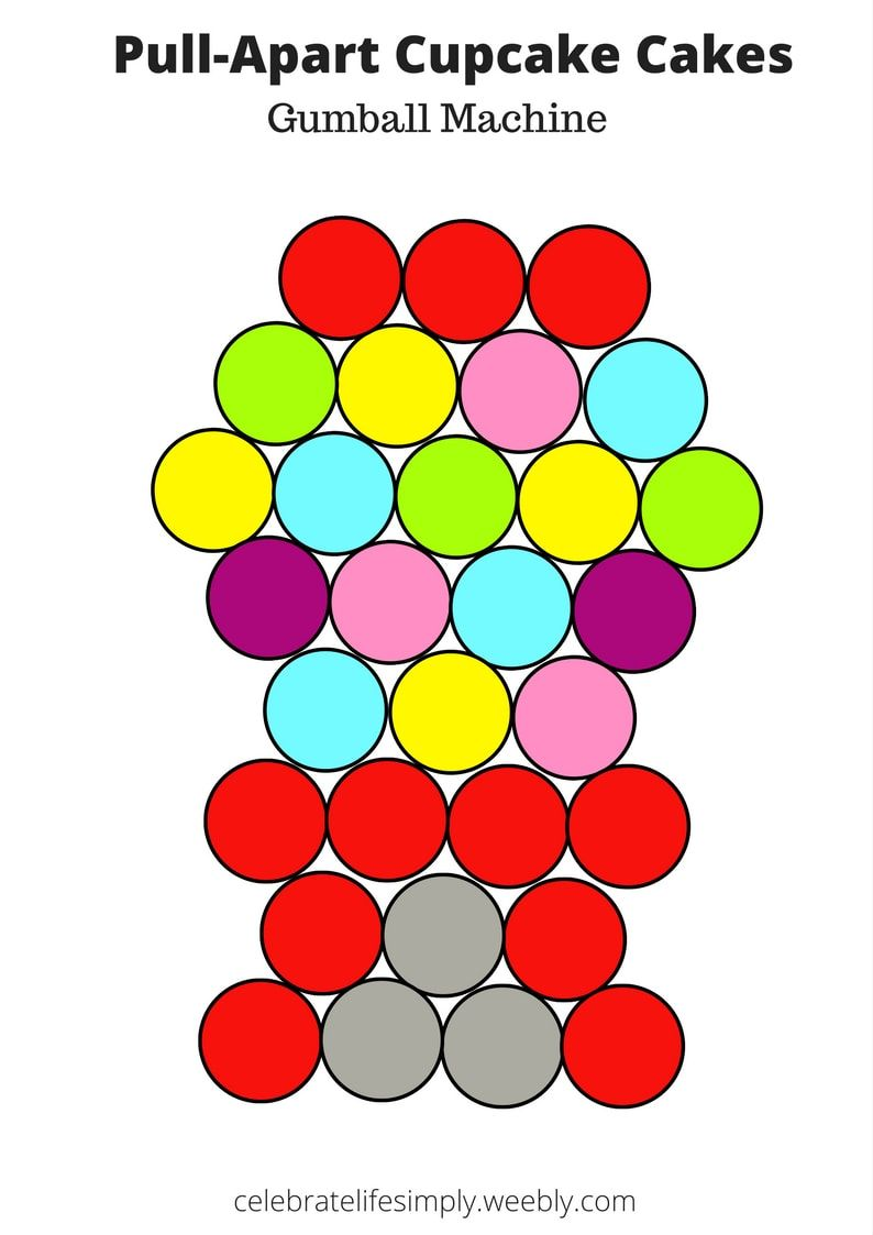 gumball pull apart cupcake cake template over 100 free templates