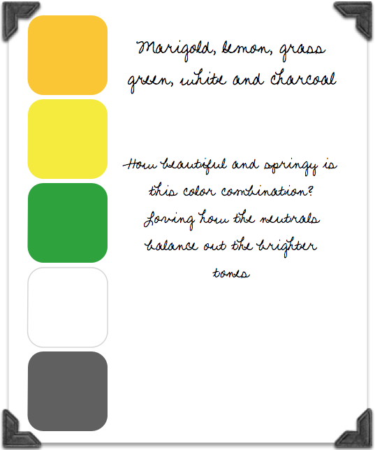 Marigold Lemon Green White And Charcoal Color Palette