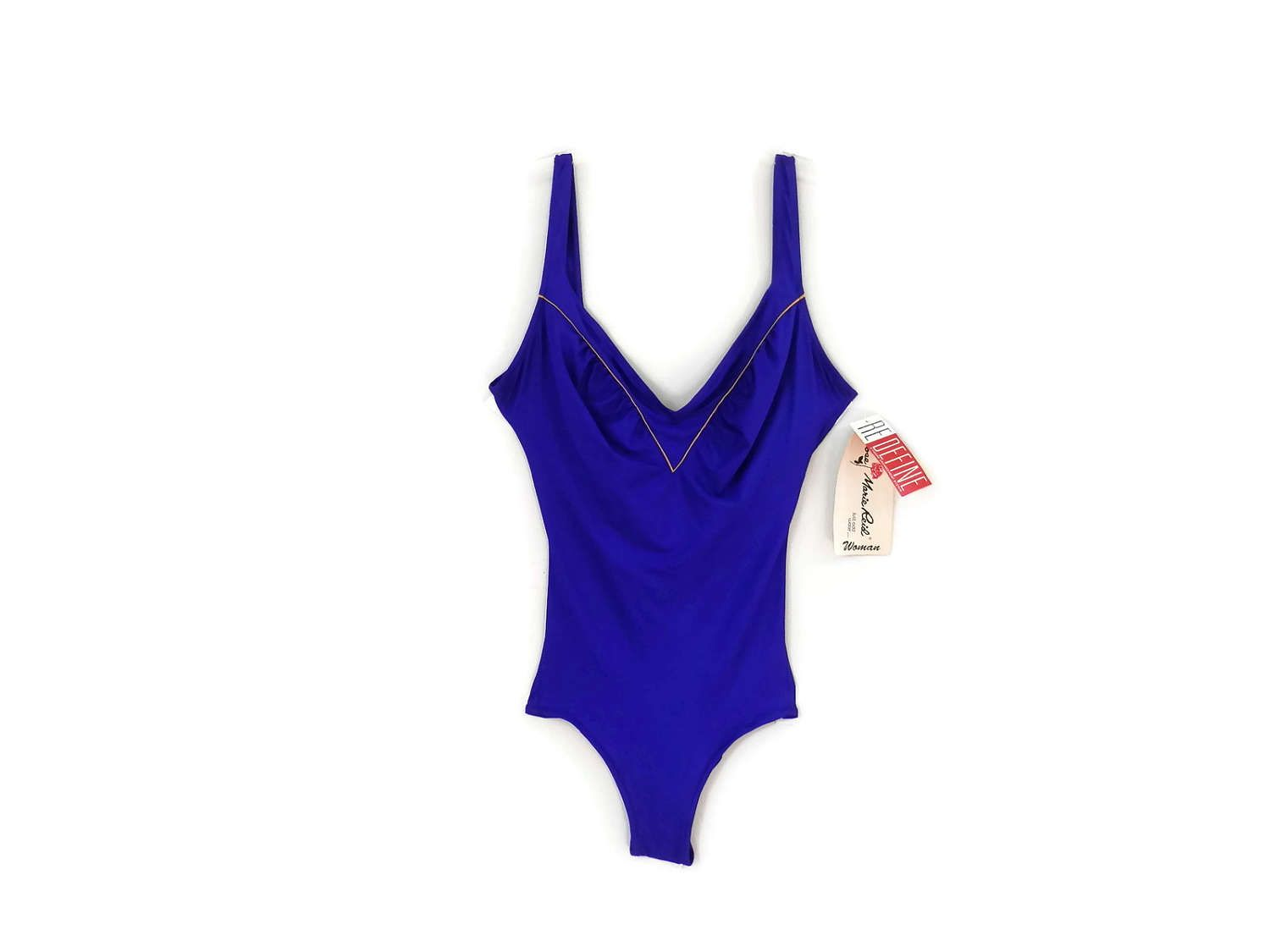 c7b8b8f37a7f4 NEW Plus Size Swimsuit by Rose Marie Reid Purple w/Gold Piping Vintage  Swimsuit Old Store Dead Stock Plus Size 22W