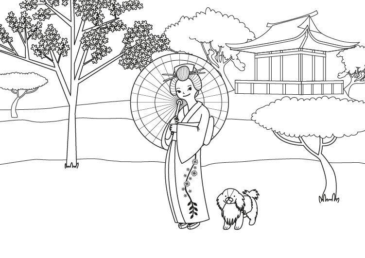 Princesa Japonesa Dibujo Para Colorear E Imprimir Dibujos Para Colorear Imprimir Sobres Dibujos