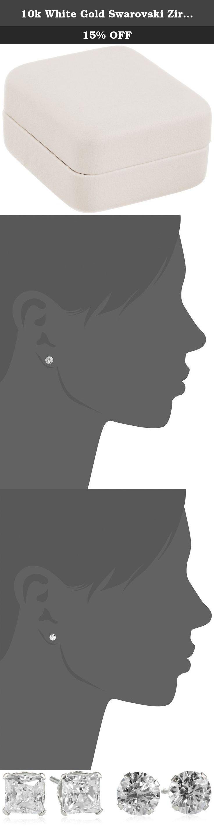 10k White Gold Swarovski Zirconia Round Two Stud Earrings Set (1 1/2 cttw). Length of 5mm RD earring: 0.197, 4.5mm Princess earring:0.177 inches. Domestic. 14k gold-filled earring backs.