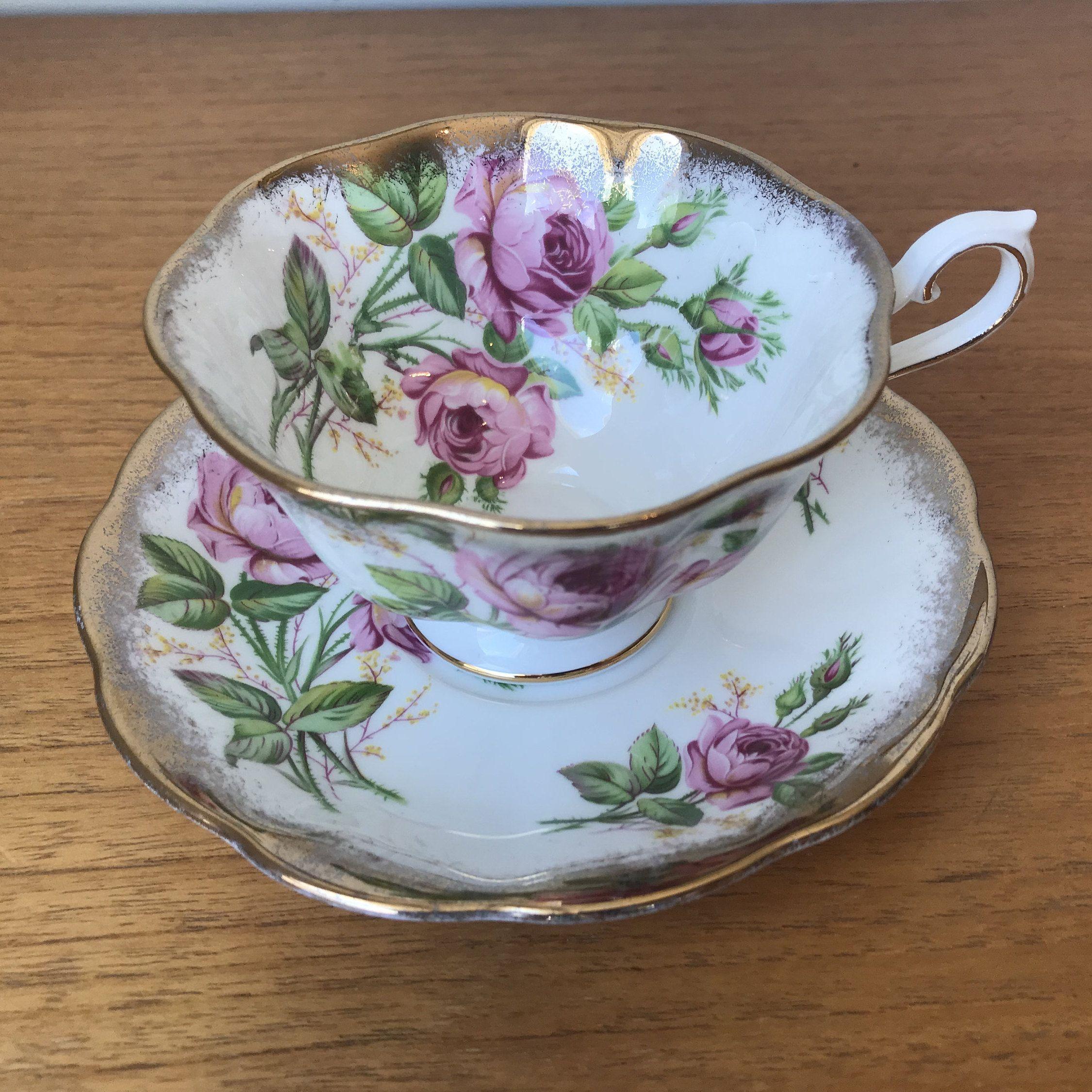 Pink Rose China Tea Cup and Saucer, Royal Albert Teacup and Saucer, Heavy Gold, Bone China #teacups