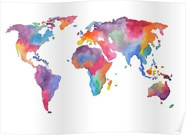 Watercolor World Map Atlas Poster By Jennifercerutti Water
