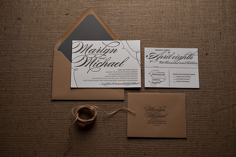 Rustic Kraft Wedding Invitation With Twine For Invitations Letterpress Envelope Liner
