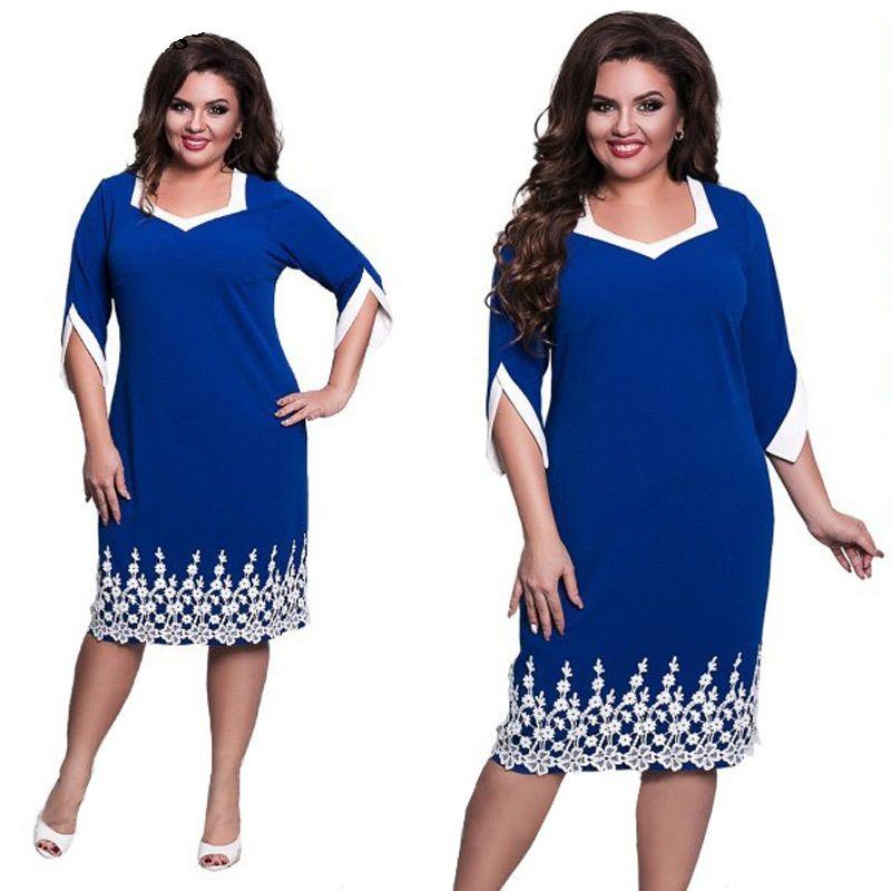 b9688b0e487 2018 Women Clothes Plus Size Dress New Lace Patchwork Big Sizes ...