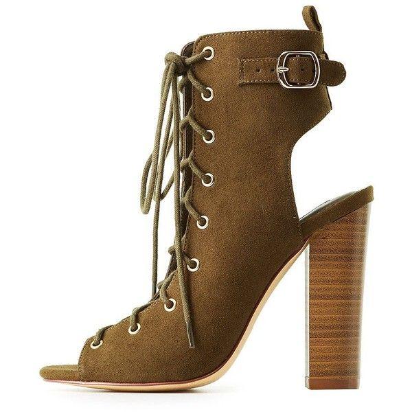 de9bbbe2670 Liliana Peep Toe Lace-Up Buckle Booties ($31) ❤ liked on Polyvore ...