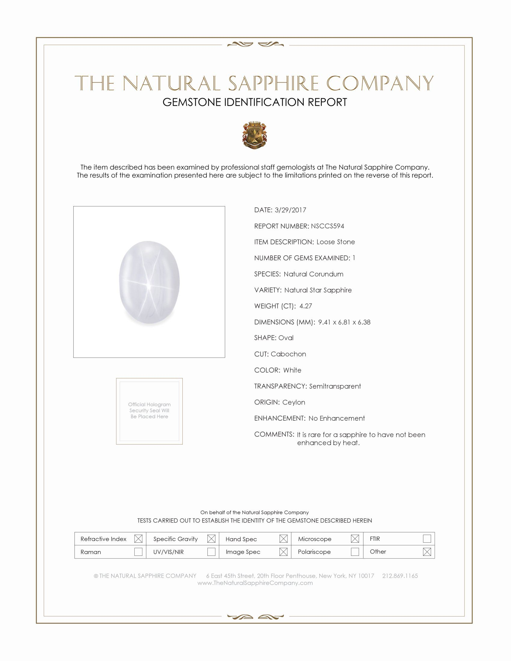 Natural Untreated Metallic White Star Sapphire S594 Certification