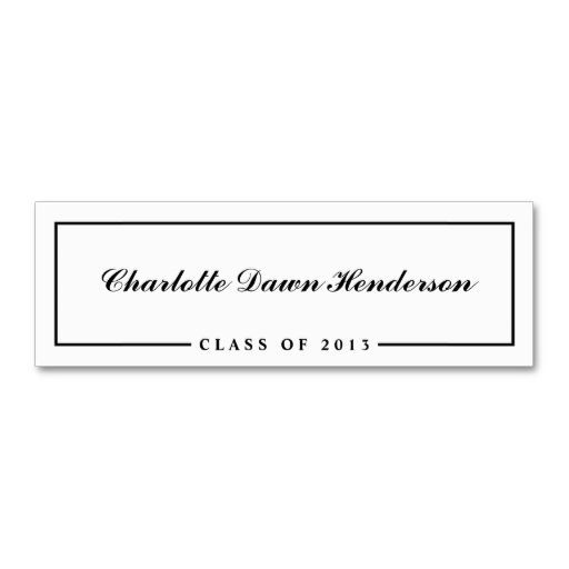 Graduation announcement name card border Class of Business Cards