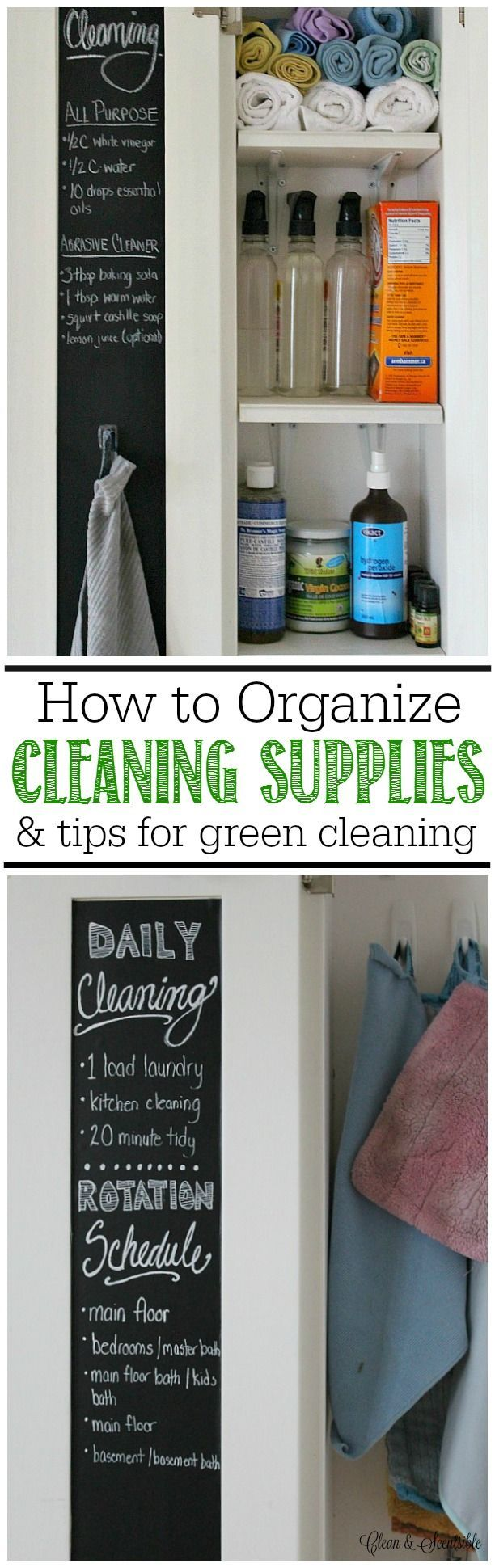 Great post on how to organize cleaning supplies and basic green cleaning tips.
