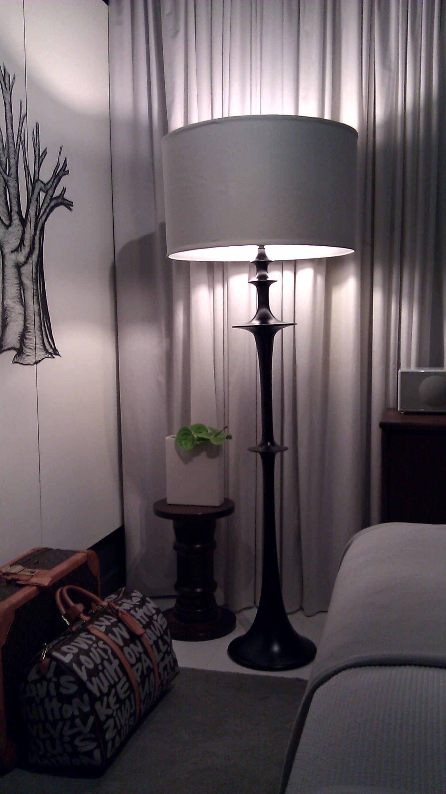 Discarded floor lamp refurbished for second bedroom