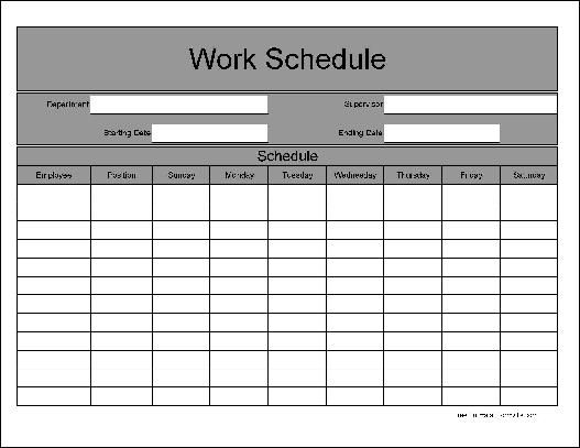 employee schedule template work schedule template Pinterest - work schedule