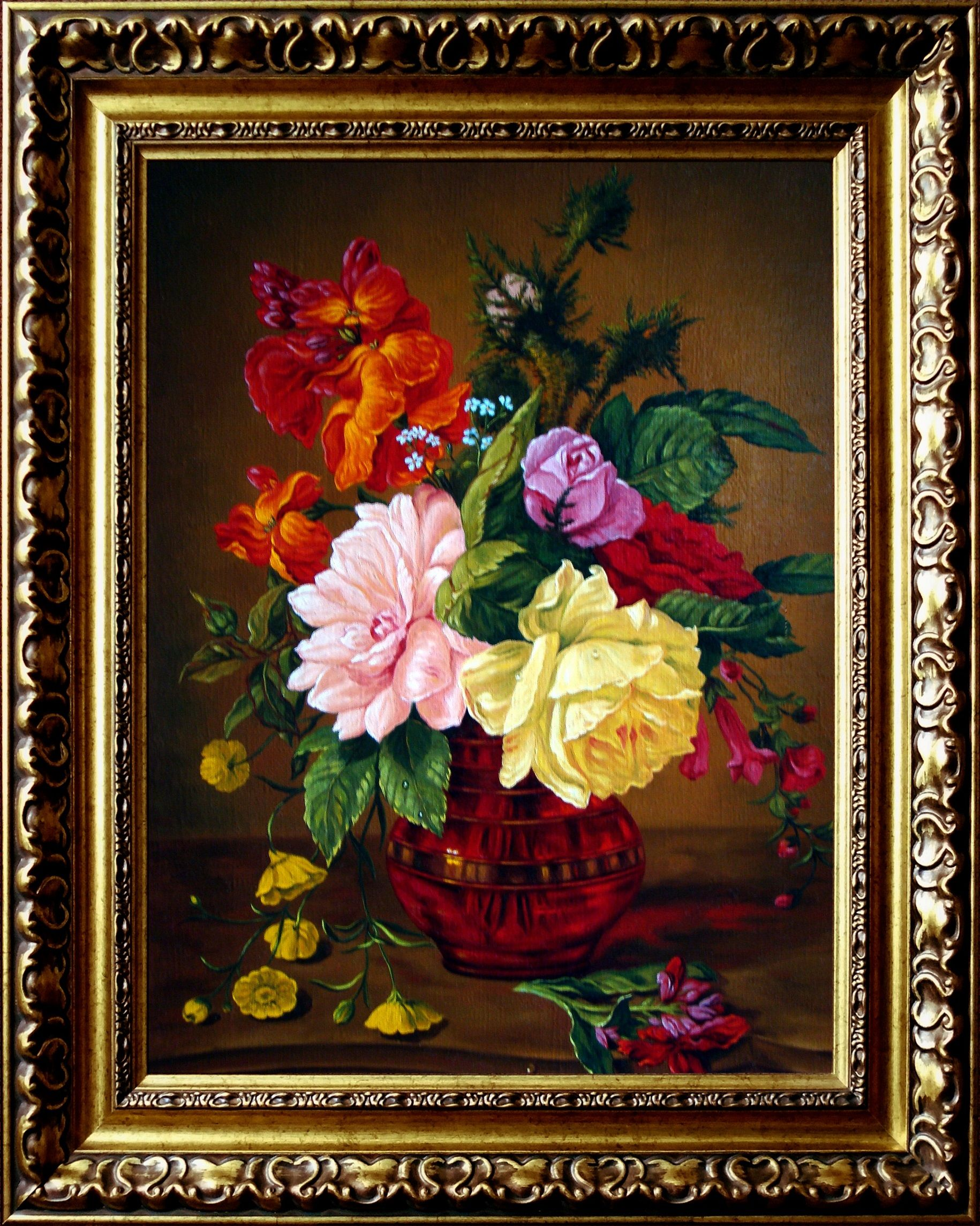 Bukiet Kwiatow W Wazonie Art Painting