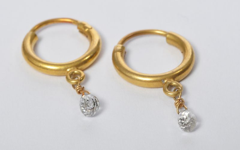 plated new hoop product cz earrings diamond swiss gold design small woman