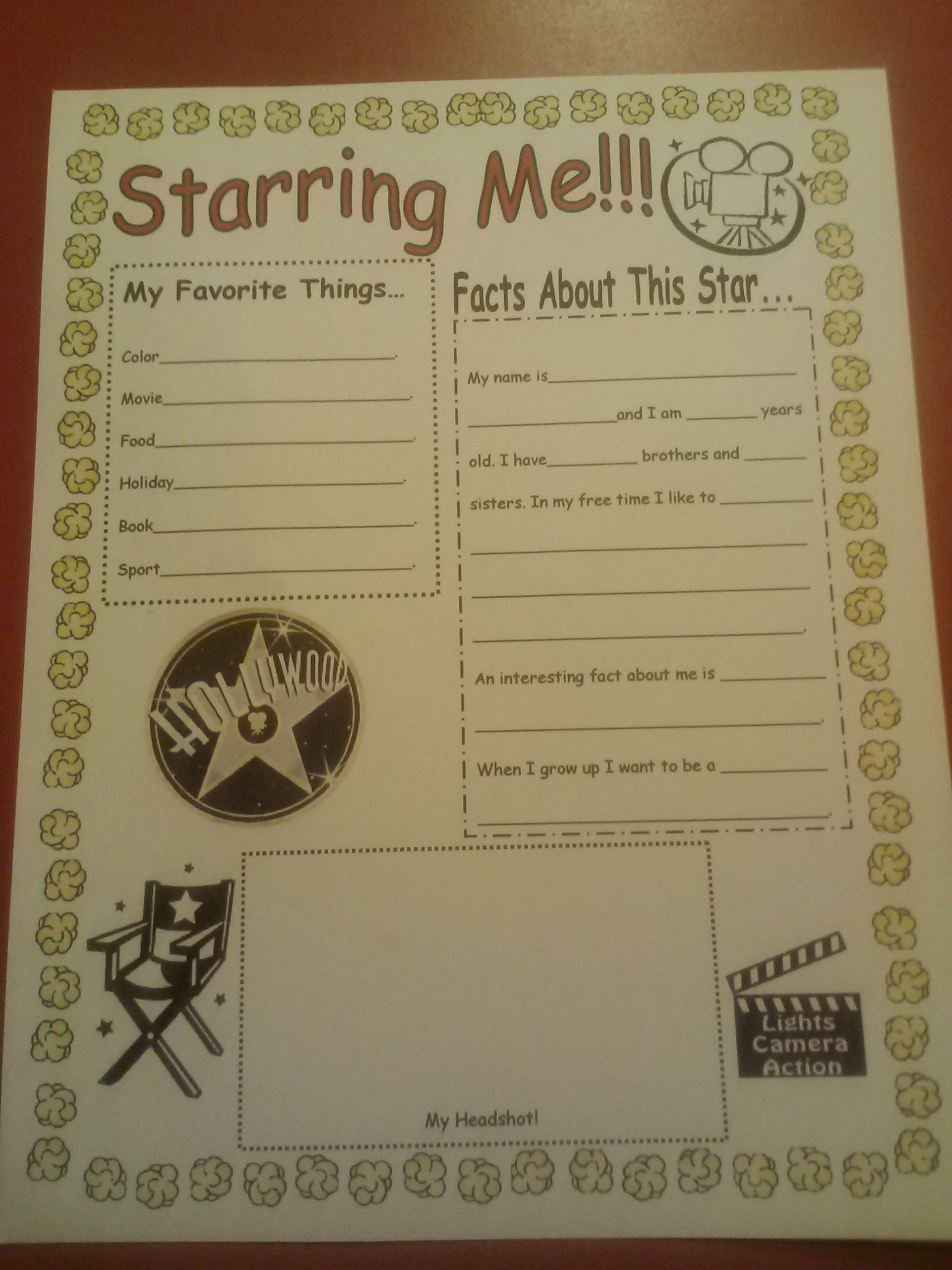 All About Me Poster For A Hollywood Themed Classroom