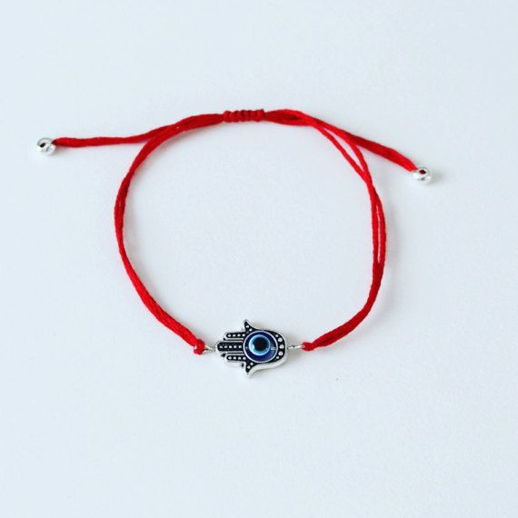 066a1527530e Suerte pulsera de hilo rojo mal de ojo algodón Hecho a mano ...