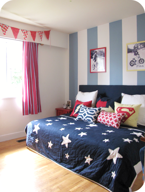 A Red Yellow And Blue Striped Shared Boys Bedroom Bedroom Red Dark Blue Bedrooms Bedroom Wall Paint