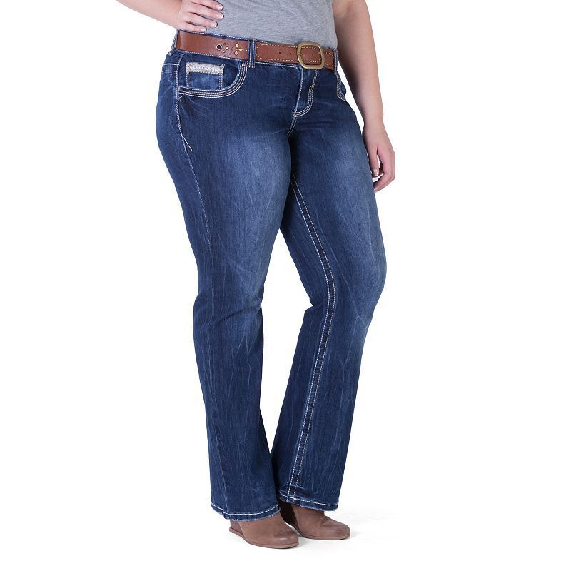 Juniors' Plus Size Amethyst Belted Slim Bootcut Jeans, Girl's, Size: 14 W,  Purple Oth