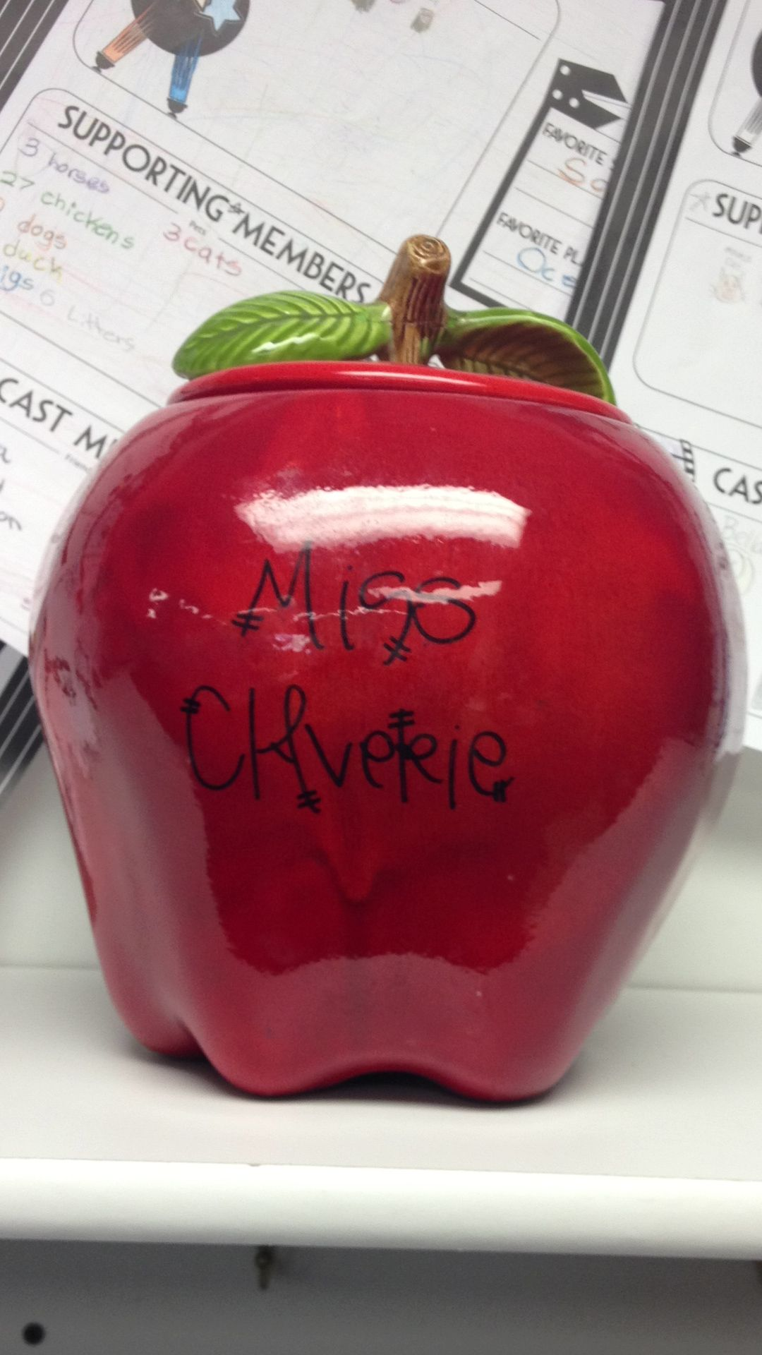 Apple cookie jar with the teachers name