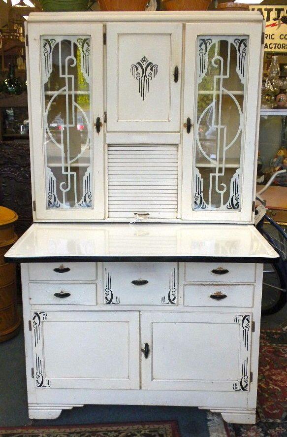 Vintage 1937 Art Deco Top Of The Line Marsh Hoosier Kitchen Cabinet No. 7017