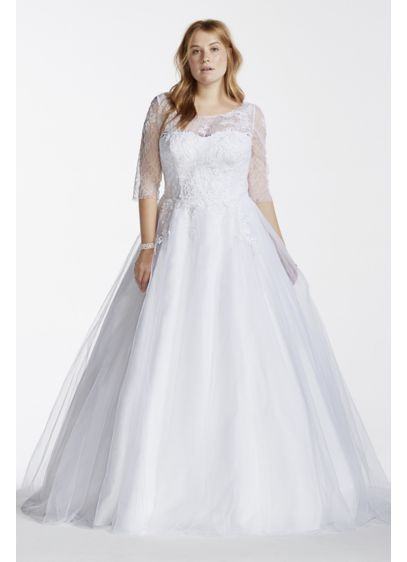 0ccac9af9d0a Tulle Plus Size Wedding Dress with Illusion Bodice 9WG3742 | Someday ...