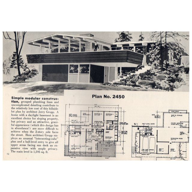 1950 S Mid Century Modern Style Architecture And Floor Plan Love The 50 S From Google Com Vintage House Plans Mid Century Modern House Eco House Design