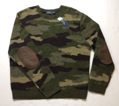 Polo Ralph Lauren Men Military Army Camo Wool Knit Pullover Sweater SMLXL  in Clothing, Shoes & Accessories, Men's Clothing, Sweaters