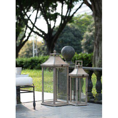 2 Piece Glass and Wood Lantern Set