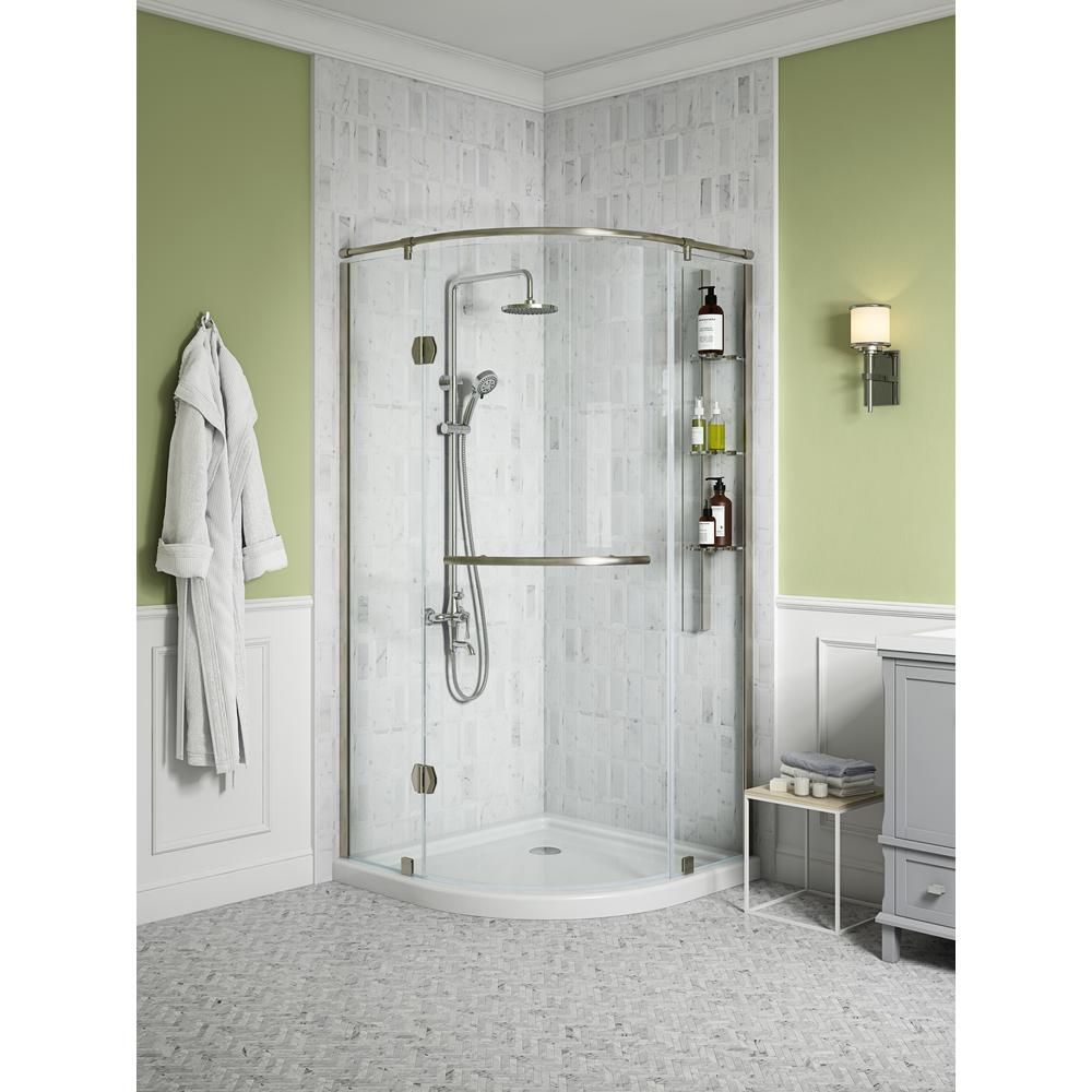 Glacier Bay Glamour 36 In X 73 90 In Semi Frameless Pivot Shower Door In Satin Nickel With 36 In X 36 In Base In White Corner Shower Kits Corner Shower Doors Shower Kits