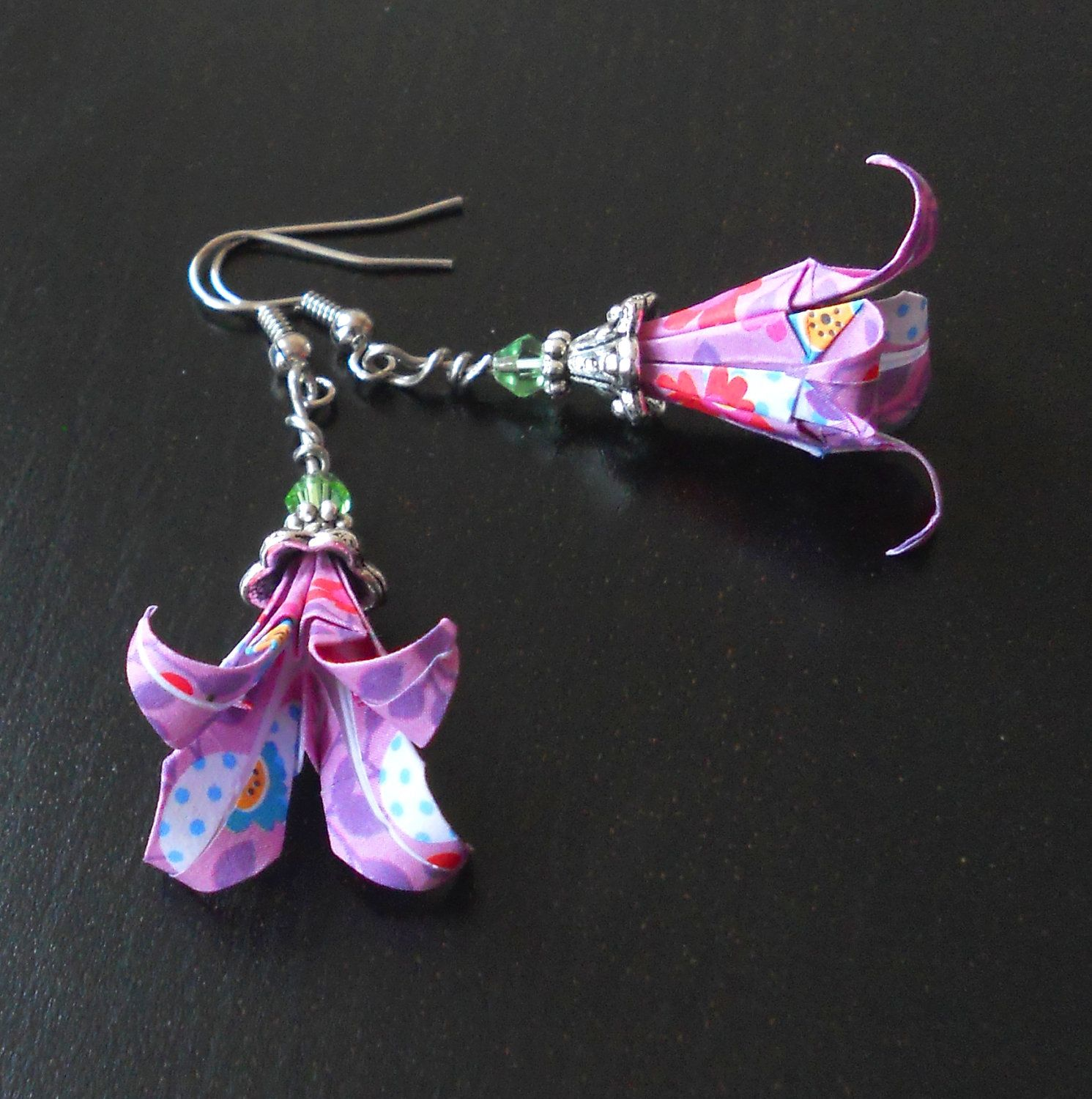 Origami earrings: lily flower