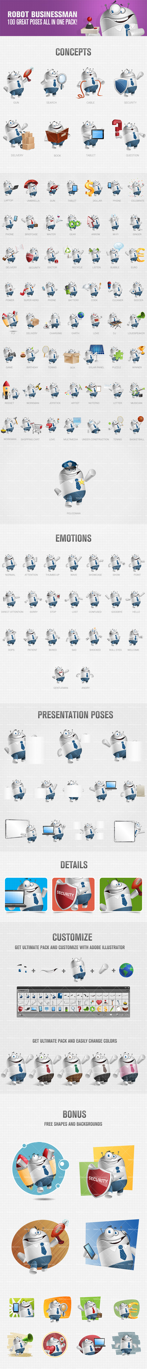 Robot businessman cartoon character perfect for any project related to technology, internet and business. Use any of these 100 poses to make your designs more welcome and animated. Continue reading →