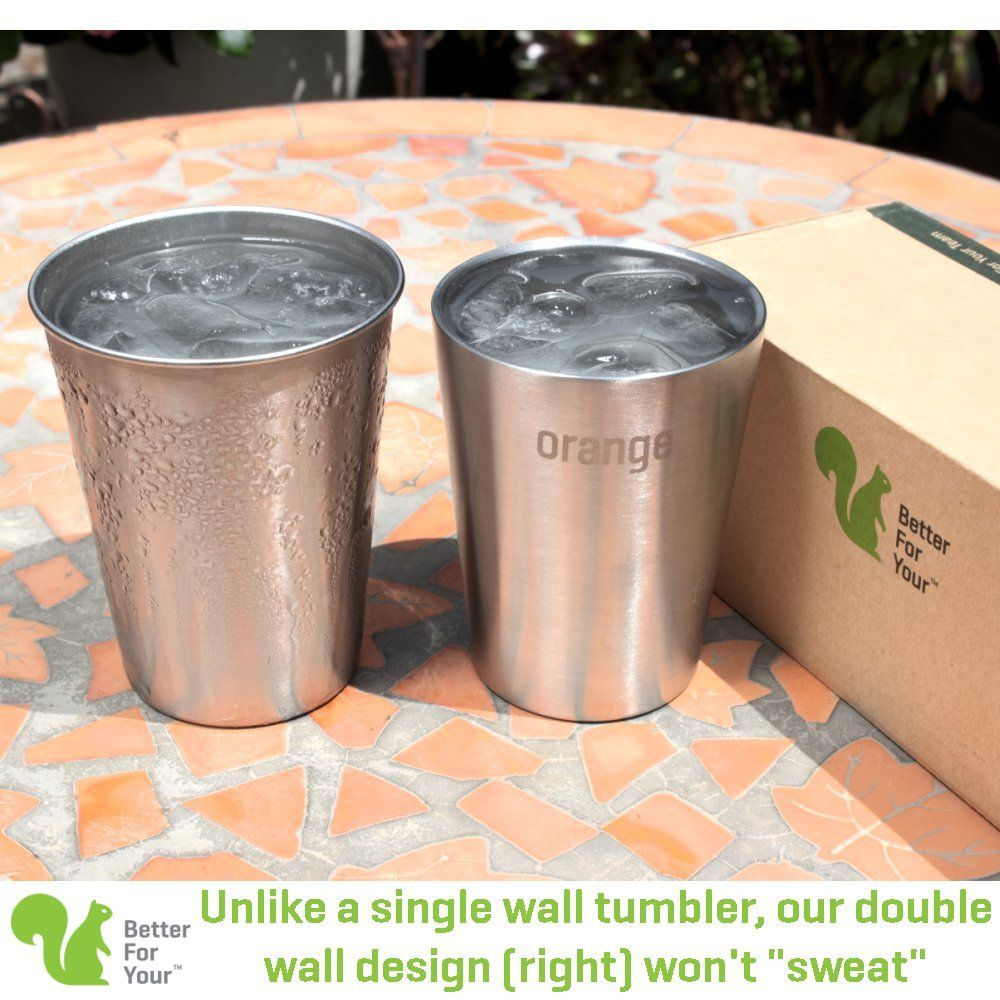 Stainless Steel Kids Cups Double Wall Small Tumblers Set Of 3 8oz 250ml Literal Color Range Yellow Purple Orange Kids Cups Double Walled Tumbler