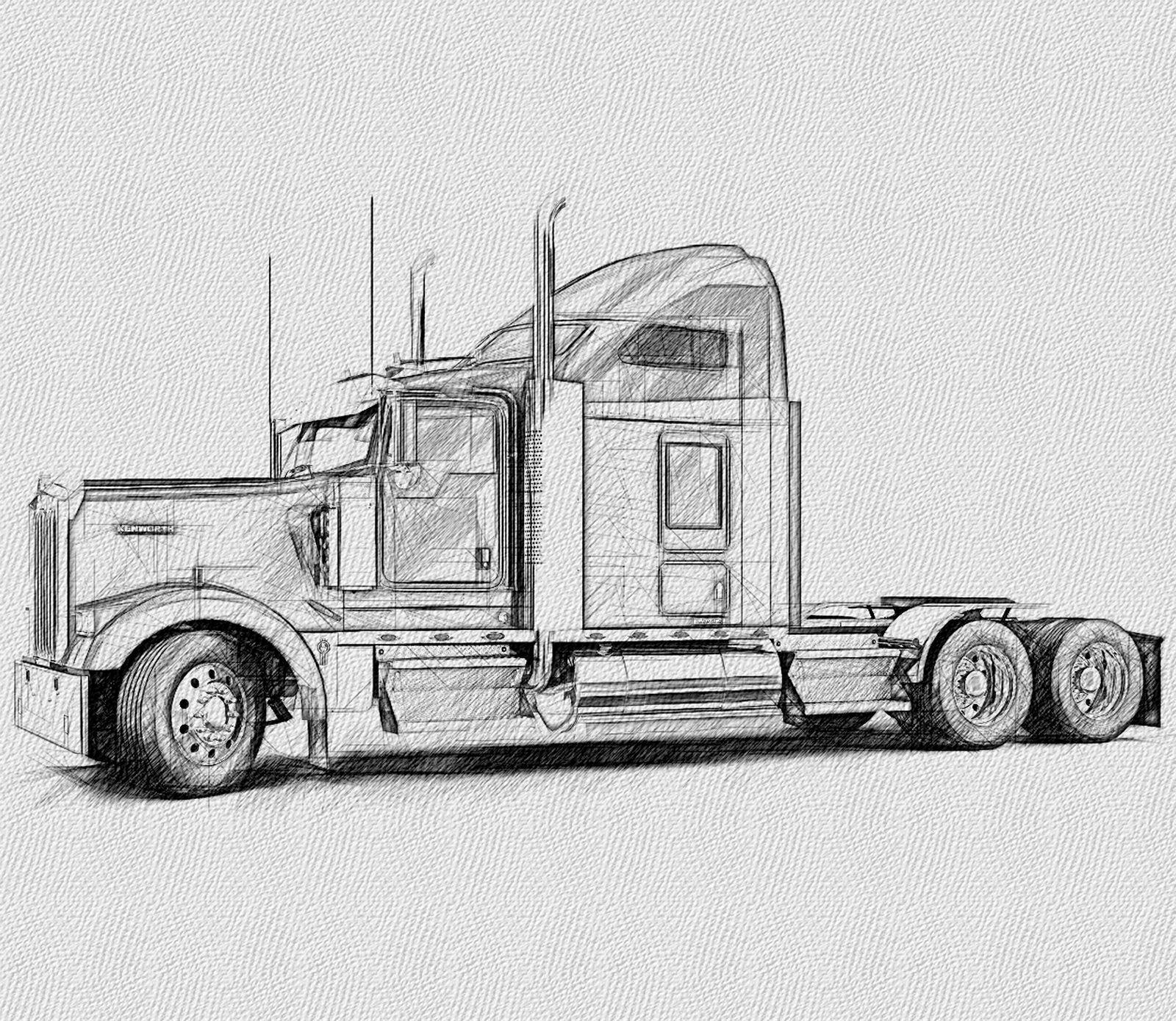 Kenworth Tractor Cab Lh Side Tatuaje De Camion Dibujos Camiones Peterbilt