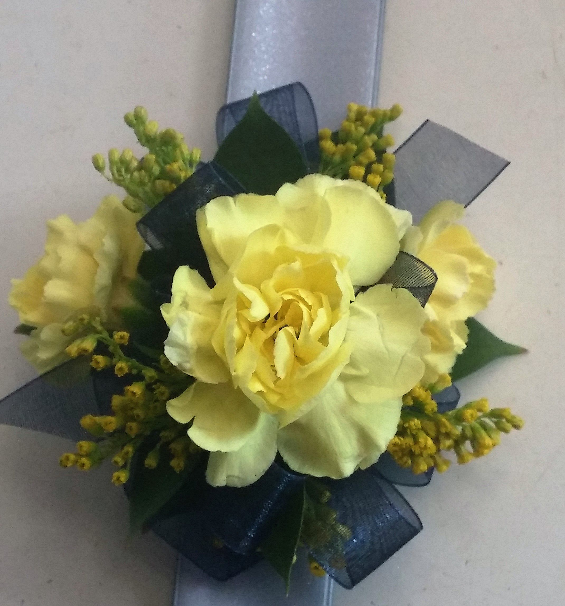 Blue And Yellow Wrist Corsage Yellow Carnations Yellow Solidago