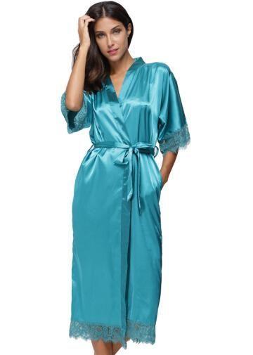 49760926fb Summer Lace Patchwork Satin Kimono Robe Sexy Sleepwear Lingerie Chemises  Women Silk Long Nightgown Wedding bridesmaid Robes