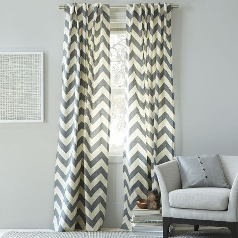 Cotton Canvas Zigzag Window Panel Feather Gray West Elm
