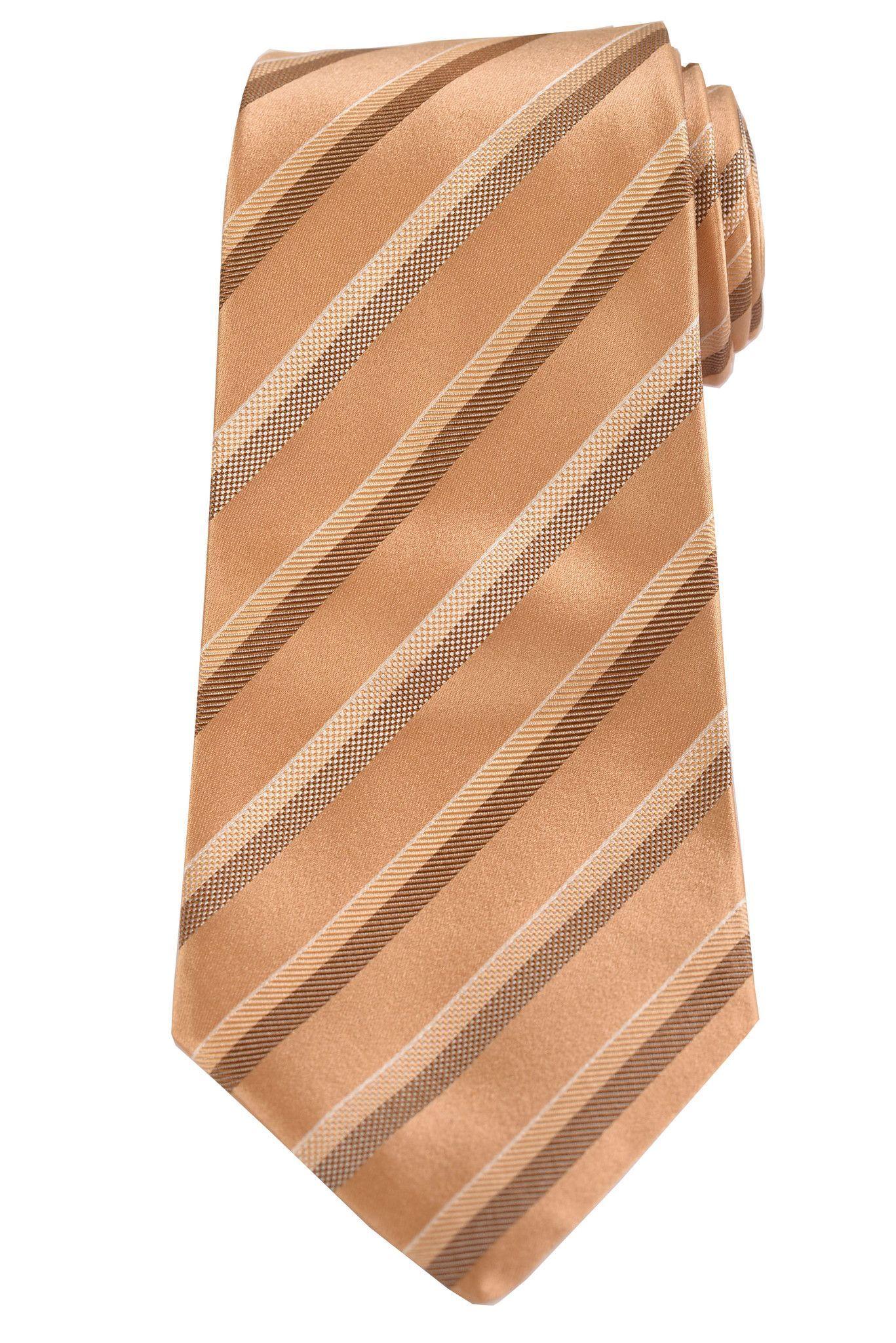 KITON Napoli Hand-Made Seven Fold Gold Repp Striped Silk Tie NEW