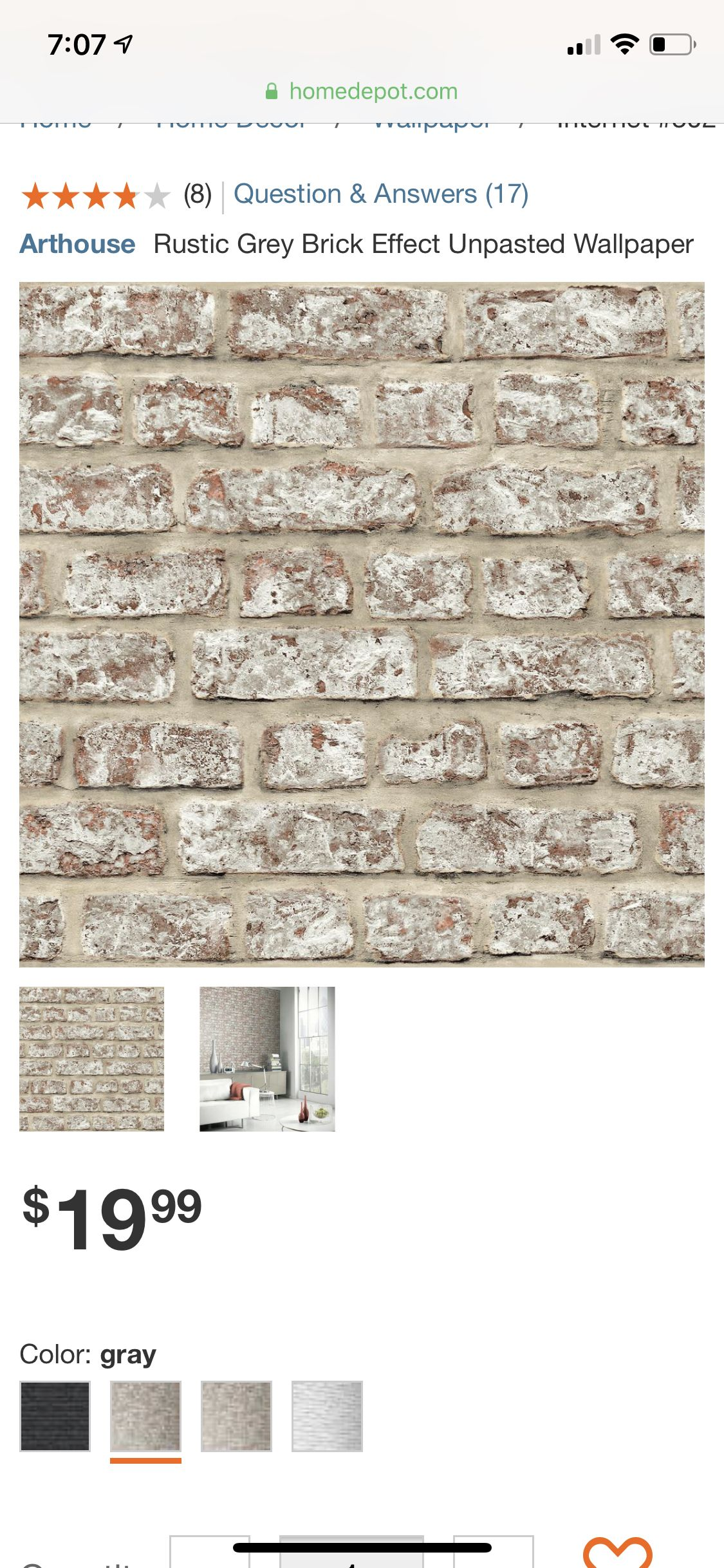 Arthouse Rustic Grey Brick Effect Unpasted Wallpaper, Gray