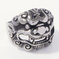 Stainless Steel Chinese Auspicious Animal Qilin Men Biker Ring