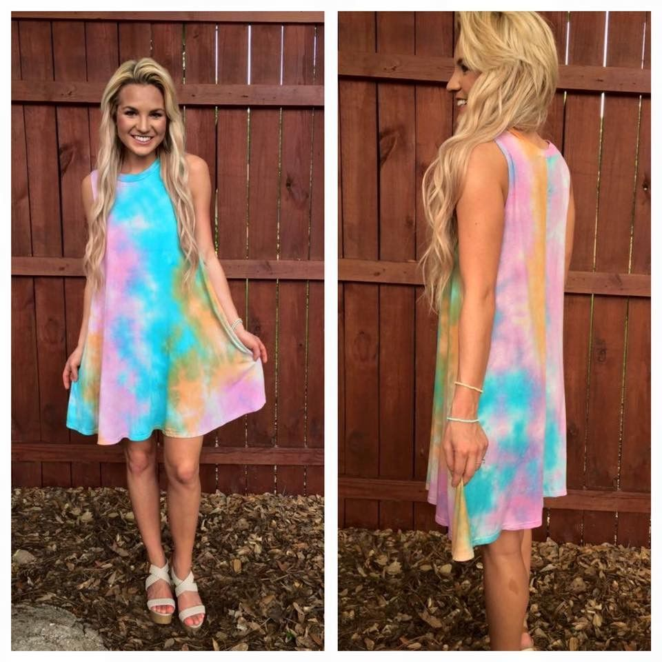 Sleeveless tie dye dress vestidos verano fancy pinterest