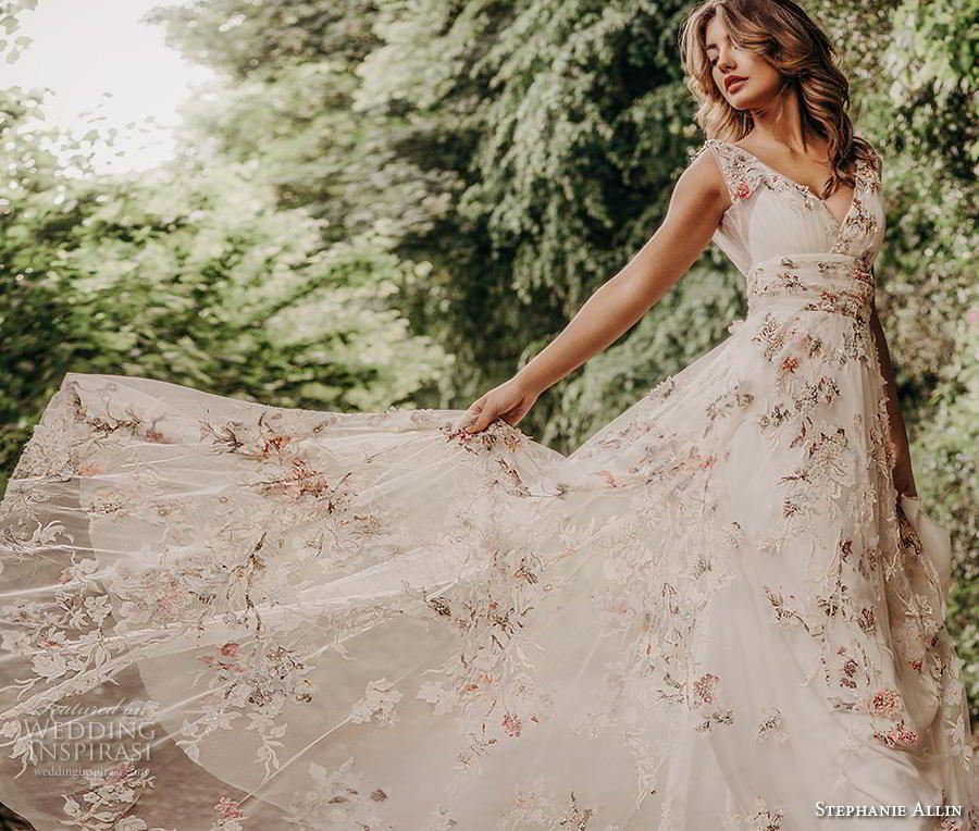 stephanie allin 2019 sleeveless V-Ausschnitt volle Verschönerung Blumenapplikat…