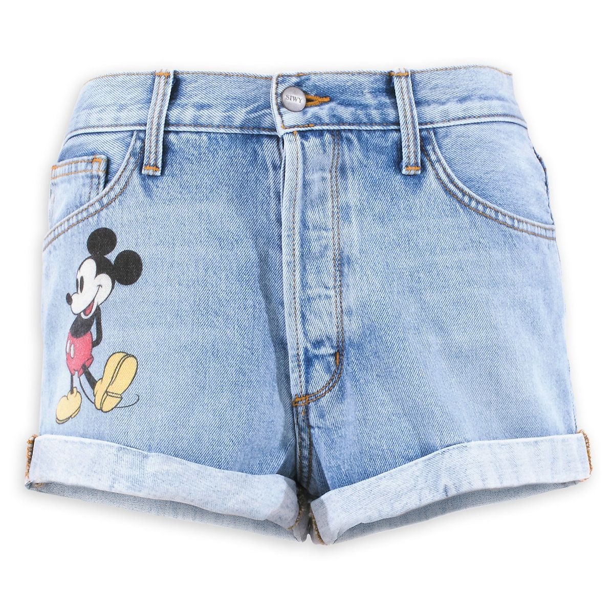 96d75290d7 Mickey Mouse Denim Shorts by SIWY | Closet | Disney shorts, Denim ...